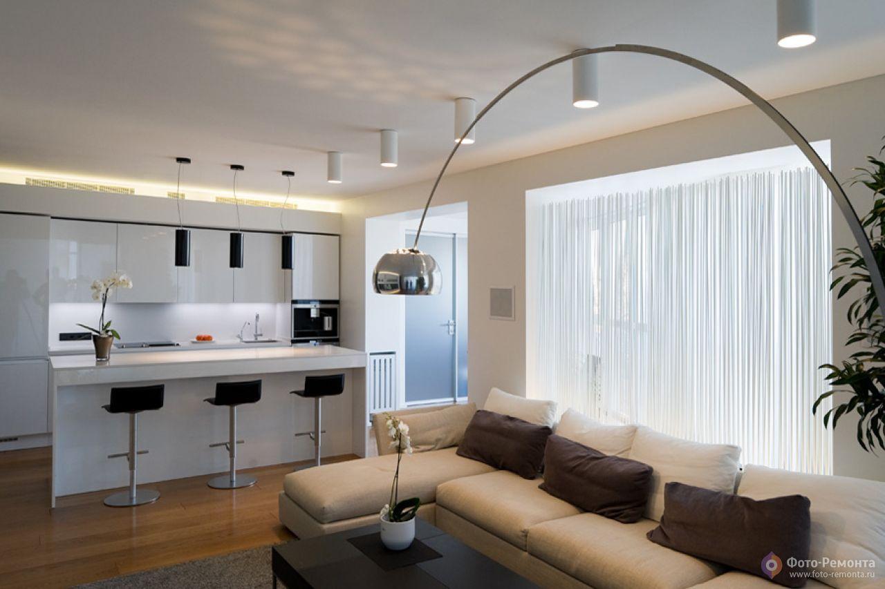 Дизайн кухни-гостиной - фото топ-50 гостиных совмещенных с к.